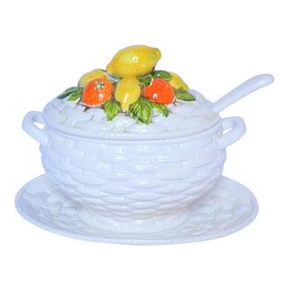 Vintage Majolica Lemon & Orange Basket Weave Large Tureen For Sale