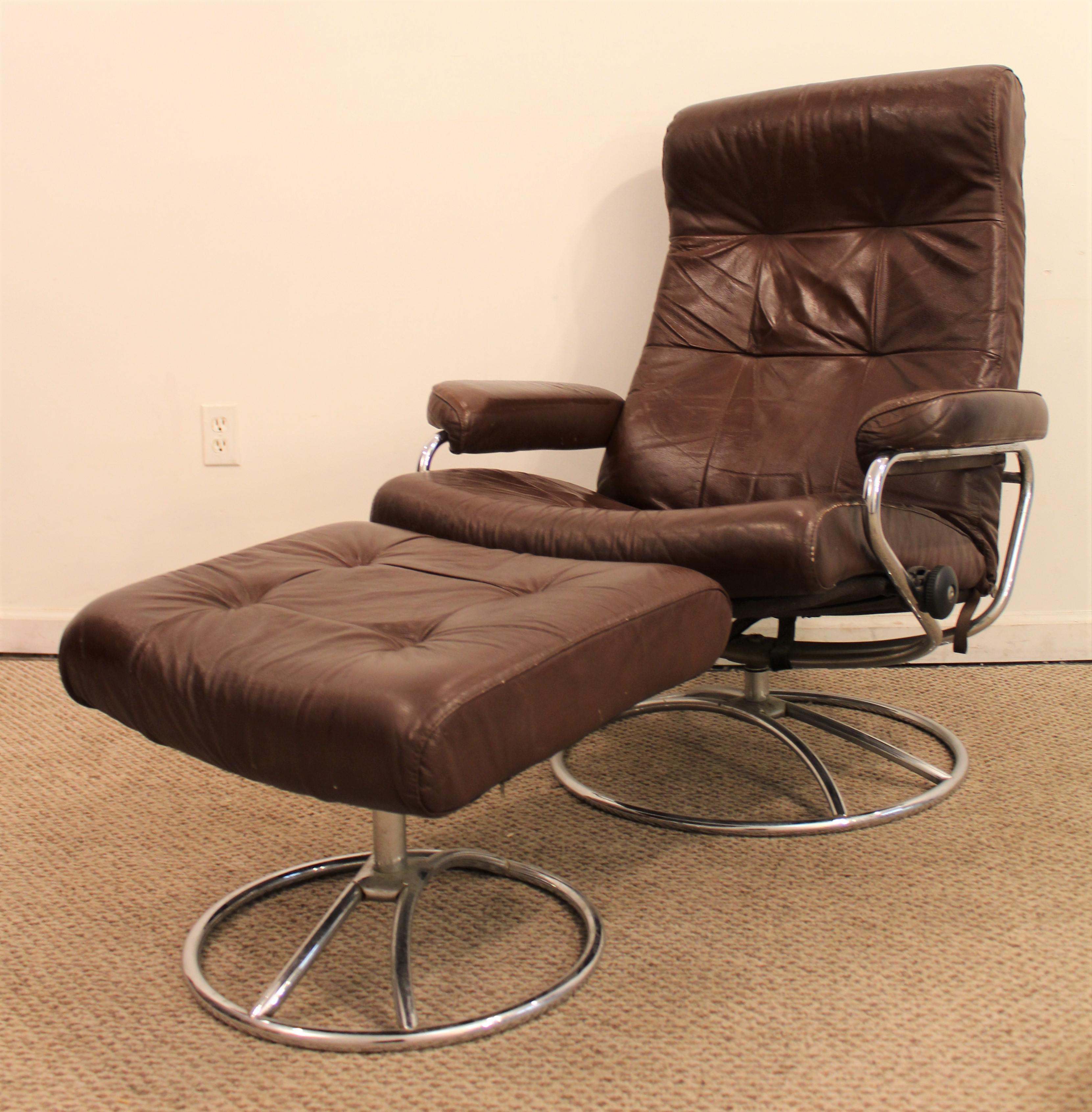 Danish Modern Ekornes Stressless Mid Century Danish Modern Leather Chrome Recliner  Lounge Chair U0026 Ottoman