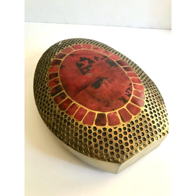 Vintage R & Y Augousti Ovoid Vase in Solid Bronze and Exotic Mosaic Pen-Shell For Sale - Image 9 of 13