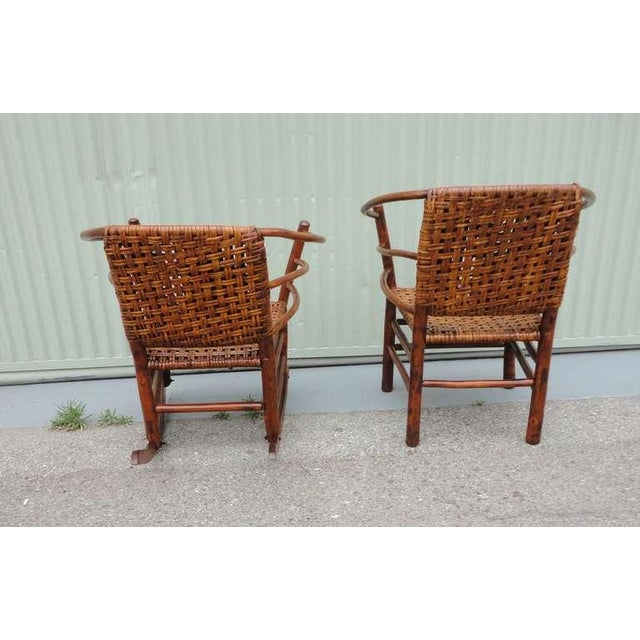 Pair of Signed Old Hickory Barrel Back Rocker and Side Chair - Image 6 of 9