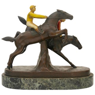 Antique English Steeple Chase Bronze Sculpture by Hans Harder For Sale