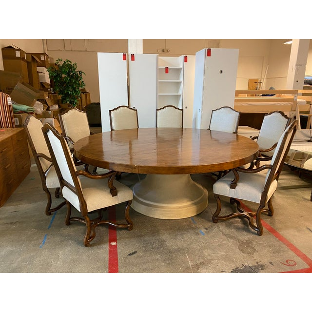 Wood Michael Taylor Table + Set of 10 Custom Design Chairs Dining Set For Sale - Image 7 of 13