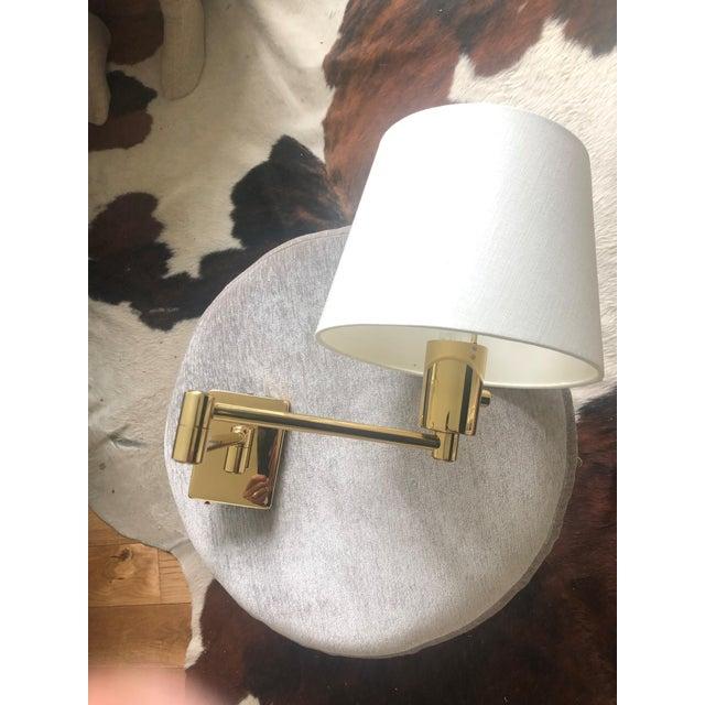 2010s Hinson Brass Wall Lamp with Shade For Sale - Image 5 of 5