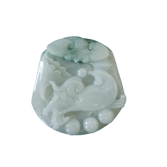 Jadeite Jade Carved Pendant W / Bird - Image 9 of 9