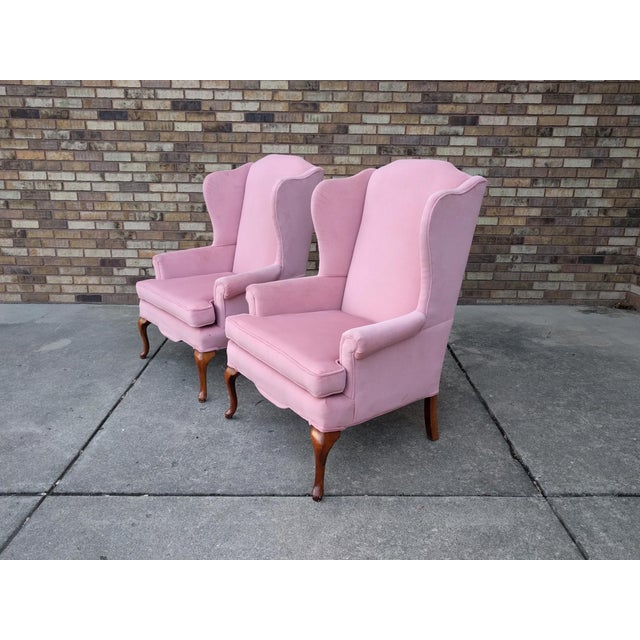 Vintage Queen Anne Pink Velvet Wingback Chairs by Sam Moore Furniture - A Pair - Image 3 of 11