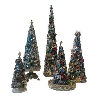 Vintage Jeweled Sculptural Trees - Set of 5 For Sale