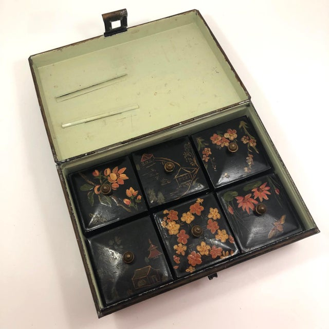 Asian Tole Painted Asian-Themed Antique Tin Spice Box With Six Canisters - 7 Pieces For Sale - Image 3 of 13