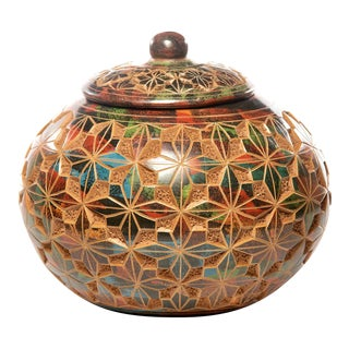 Nicaraguan Lidded Cache Pot With Etched Star Design For Sale