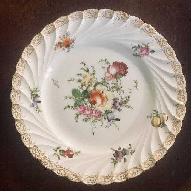 Set of 3 hand-painted Rococo swirl plates with Helena Wolfsohn, Dresden mark on back.