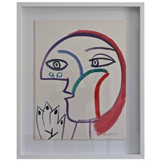 Gouache on Paper: Rene Marcil 1983 For Sale