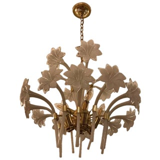 1970s Italian Murano Mid-Century Two-Tier Brass Floral Chandelier For Sale
