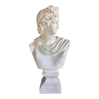 Greek Roman Plaster Bust Sculpture Statue of Apollo For Sale