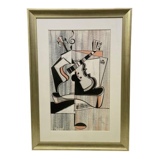 Mid-Century Modern Cubist Pastels Painting of Guitar For Sale
