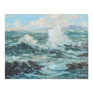 """1940's """"California Surf"""" Seascape Painting For Sale"""