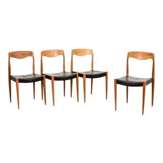 Set of Four Mid-Century Scandinavian Design Leatherette Dining Chairs After n.o. Moller, Early Edition Model 71, Denmark, 1950s For Sale