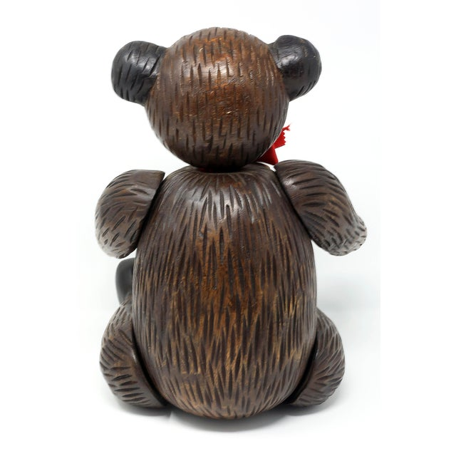 Vintage Hand-Carved Wood Jointed Teddy Bear For Sale - Image 4 of 9