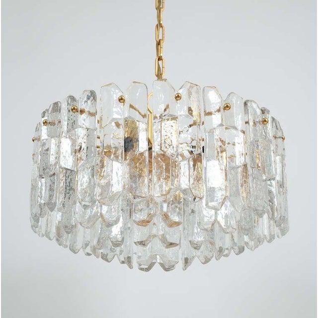 "J.T. Kalmar Gold Brass Tiered Crystal Glass Chandelier Palazzo Lamp, circa 1960. Stunning four-tier 21"" Austrian Kalmar..."