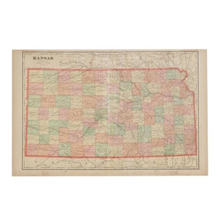 Cram's 1907 Map of Kansas For Sale