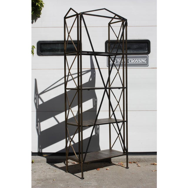 1990s Italian Wireframe Triptych Etagere Shelf - Image 10 of 10