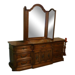 1970s High End Unique Furniture French Regency Style Traditional Tri-Mirror and Dresser For Sale