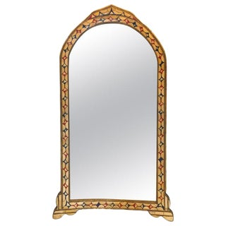 Moroccan White/Red & Blue Colored Bone Over Brass Frame Wall Mirror For Sale