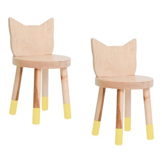 Nico & Yeye Kitty Kids Chair Solid Maple and Maple Veneers Yellow - Set of 2 For Sale