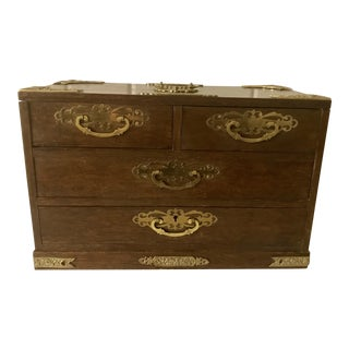 Vintage Wood & Brass Jewelry Chest