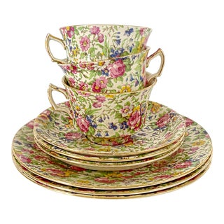 Antique Early 20th English Chintz Royal Winton Settings for 3 Breakfast / Teatime Cups Saucer Plates Set - 9 Pieces For Sale