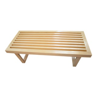 Vintage Mid Century Modern Wood Slat Bench Style of George Nelson For Sale