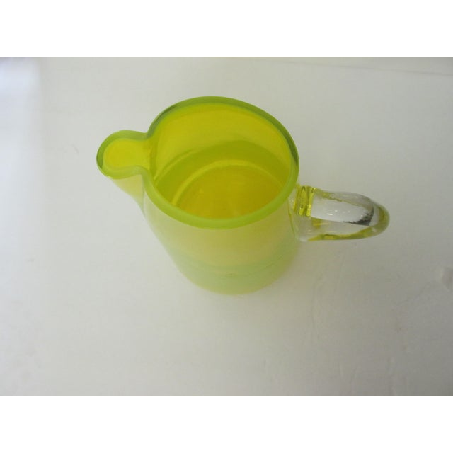 Mid-Century Yellow Glass Pitcher For Sale In Houston - Image 6 of 9