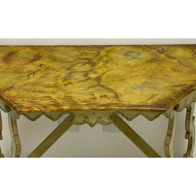 Wood Chelsea House Faux Marble Venetian Style Console Table For Sale - Image 7 of 8