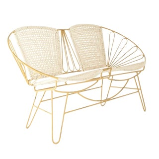 Distressed Metal Settee With Woven Cotton For Sale