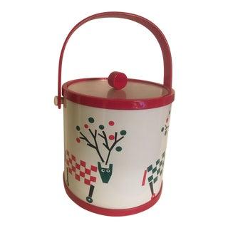 Katja Swedish Christmas Reindeer Scene Ice Bucket with Lucite Handle & Lid For Sale