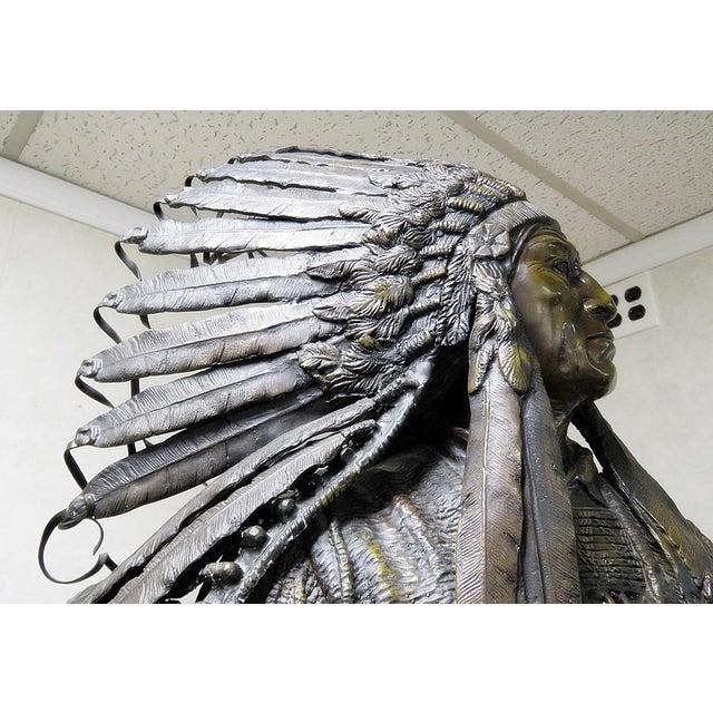Bronze Indian Sculpture Signed Carl Kauba For Sale - Image 12 of 13
