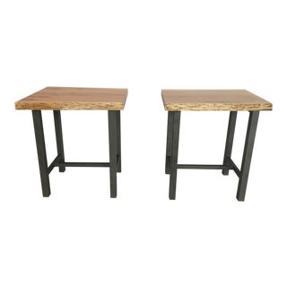 Industrial Style Solid Maple End Tables - a Pair