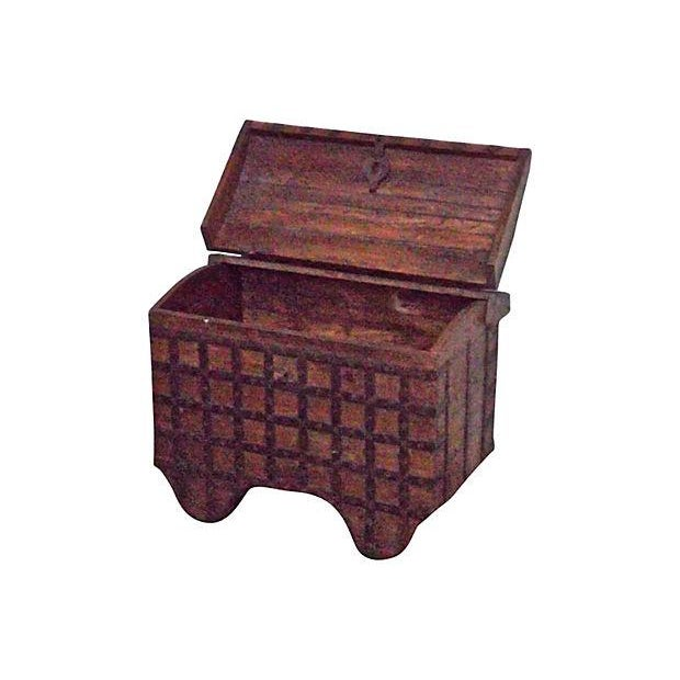 Gothic Antique 19th Century Iron and Wood Storage Trunk For Sale - Image 3 of 3