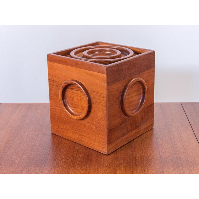 Awesome Jens Quistgaard Cube Ice Bucket with original tongs for Dansk. Solid teak construction with carved circle details...