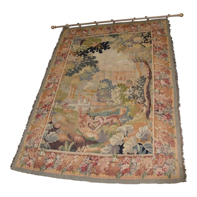 Fine Antique European Tapestry Depicting a Country Scene With Dogs For Sale