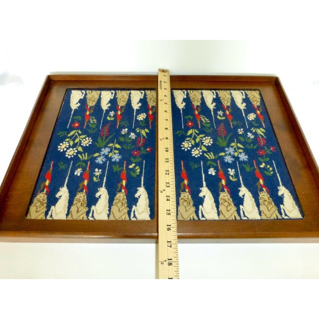 Wood Mid-Century Framed Needlepoint Embroidered Backgammon Board Game Lions Unicorns Floral For Sale - Image 7 of 9