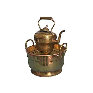 Handmade Moroccan Brass Kettle & Basin For Sale