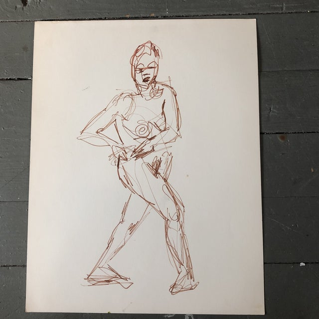 Vintage Original Ink Wash Female Nude Double Sided Painting For Sale - Image 4 of 5