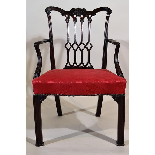 Antique English Mahogany Armchair Circa 1840-1850 For Sale - Image 4 of 4