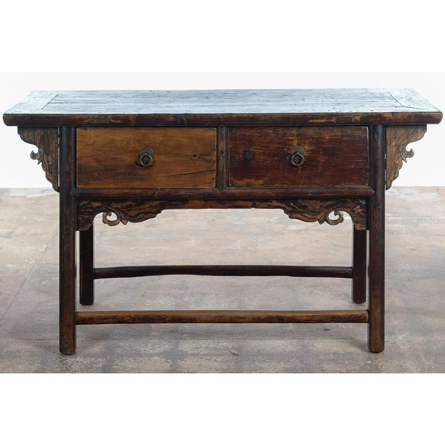Metal Chinese Antique Wooden Altar Table With Drawers For Sale - Image 7 of 10
