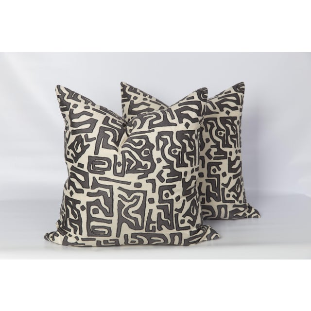 Tribal Kasai Embroidered Pillows, a Pair For Sale - Image 4 of 5