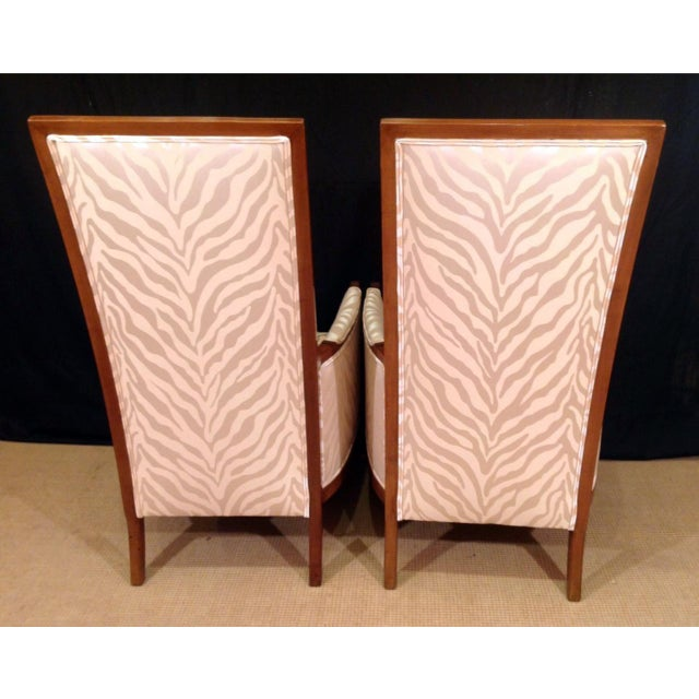 Mid-Century Modern Mid-Century Modern Upholstered Walnut Bergeres - a Pair For Sale - Image 3 of 6