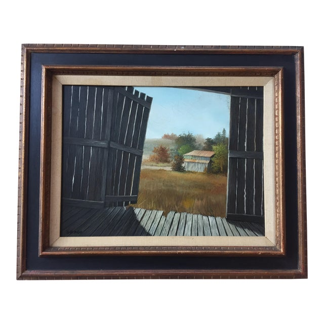 Vintage Barn Landscape Painting Signed by Drago - Image 1 of 9
