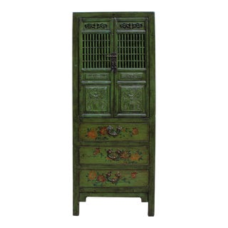 Chinese Distressed Green Narrow Wood Carving Storage Cabinet