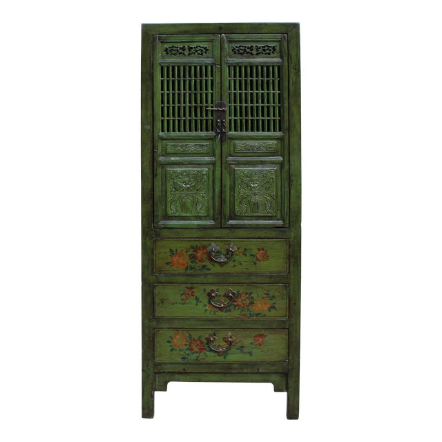 Chinese Distressed Green Narrow Wood Carving Storage Cabinet - Image 1 of 7