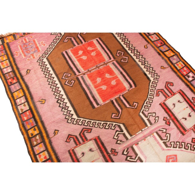 Islamic Antique Kurdish Pink and Brown Wool Kilim With Mihrab Pattern - 5′1″ × 14′9″ For Sale - Image 3 of 8