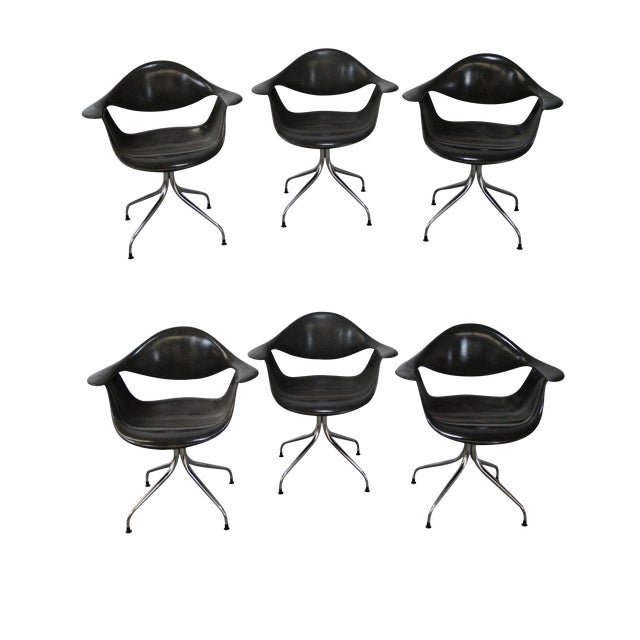George Nelson for Herman Miller DAF Swag Leg Arm Chairs- Set of 6 For Sale